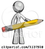 Gray Design Mascot Woman Office Worker Or Writer Holding A Giant Pencil