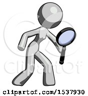 Gray Design Mascot Woman Inspecting With Large Magnifying Glass Right
