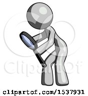 Gray Design Mascot Woman Inspecting With Large Magnifying Glass Left
