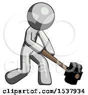 Gray Design Mascot Man Hitting With Sledgehammer Or Smashing Something At Angle