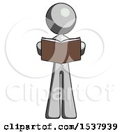 Gray Design Mascot Woman Reading Book While Standing Up Facing Viewer
