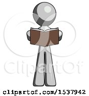 Gray Design Mascot Man Reading Book While Standing Up Facing Viewer