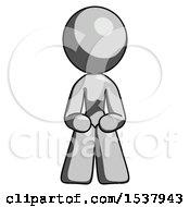Gray Design Mascot Woman Squatting Facing Front