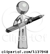 Gray Design Mascot Woman Posing Confidently With Giant Pen