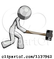 Gray Design Mascot Woman Hitting With Sledgehammer Or Smashing Something