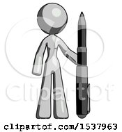 Gray Design Mascot Woman Holding Large Pen