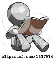 Gray Design Mascot Woman Reading Book While Sitting Down
