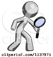 Gray Design Mascot Man Inspecting With Large Magnifying Glass Right
