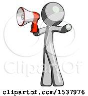 Gray Design Mascot Man Shouting Into Megaphone Bullhorn Facing Left