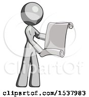 Gray Design Mascot Woman Holding Blueprints Or Scroll