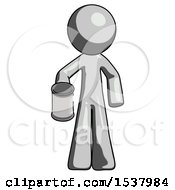 Gray Design Mascot Man Begger Holding Can Begging Or Asking For Charity