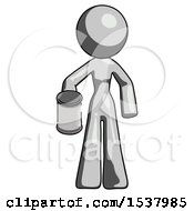 Gray Design Mascot Woman Begger Holding Can Begging Or Asking For Charity