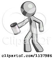 Gray Design Mascot Man Begger Holding Can Begging Or Asking For Charity Facing Left