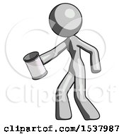 Gray Design Mascot Woman Begger Holding Can Begging Or Asking For Charity Facing Left