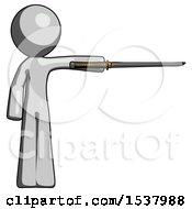Gray Design Mascot Man Standing With Ninja Sword Katana Pointing Right