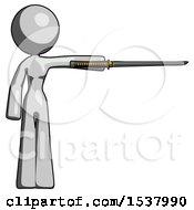 Gray Design Mascot Woman Standing With Ninja Sword Katana Pointing Right