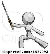 Gray Design Mascot Woman With Ninja Sword Katana In Defense Pose