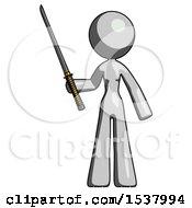 Gray Design Mascot Woman Standing Up With Ninja Sword Katana