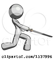 Gray Design Mascot Woman With Ninja Sword Katana Slicing Or Striking Something