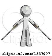Gray Design Mascot Man Posing With Two Ninja Sword Katanas