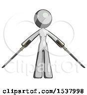 Gray Design Mascot Woman Posing With Two Ninja Sword Katanas