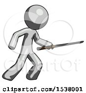 Gray Design Mascot Man Stabbing With Ninja Sword Katana