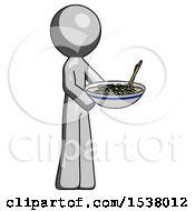 Gray Design Mascot Man Holding Noodles Offering To Viewer