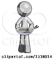 Gray Design Mascot Man Serving Or Presenting Noodles