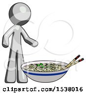 Gray Design Mascot Man And Noodle Bowl Giant Soup Restaraunt Concept