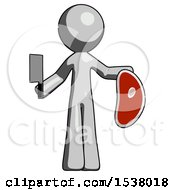 Gray Design Mascot Man Holding Large Steak With Butcher Knife