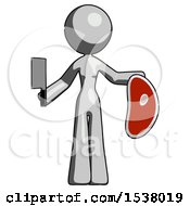 Gray Design Mascot Woman Holding Large Steak With Butcher Knife