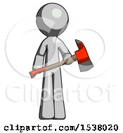 Gray Design Mascot Man Holding Red Fire Fighters Ax