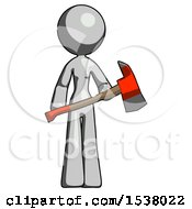 Gray Design Mascot Woman Holding Red Fire Fighters Ax
