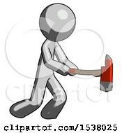 Gray Design Mascot Man With Ax Hitting Striking Or Chopping