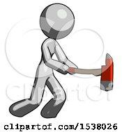 Gray Design Mascot Woman With Ax Hitting Striking Or Chopping