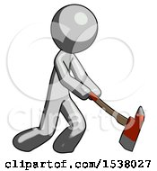 Gray Design Mascot Man Striking With A Red Firefighters Ax