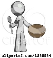 Gray Design Mascot Man With Empty Bowl And Spoon Ready To Make Something