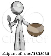 Gray Design Mascot Woman With Empty Bowl And Spoon Ready To Make Something