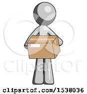 Gray Design Mascot Man Holding Box Sent Or Arriving In Mail