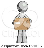 Gray Design Mascot Woman Holding Box Sent Or Arriving In Mail