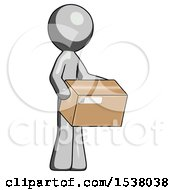 Gray Design Mascot Man Holding Package To Send Or Recieve In Mail