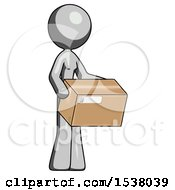 Gray Design Mascot Woman Holding Package To Send Or Recieve In Mail