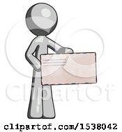 Gray Design Mascot Man Presenting Large Envelope