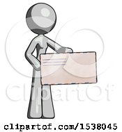 Gray Design Mascot Woman Presenting Large Envelope