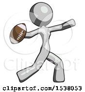 Gray Design Mascot Woman Throwing Football