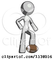 Gray Design Mascot Woman Standing With Foot On Football