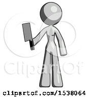 Gray Design Mascot Woman Holding Meat Cleaver