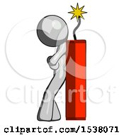 Gray Design Mascot Man Leaning Against Dynimate Large Stick Ready To Blow