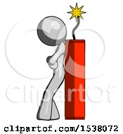 Gray Design Mascot Woman Leaning Against Dynimate Large Stick Ready To Blow