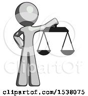 Gray Design Mascot Man Holding Scales Of Justice